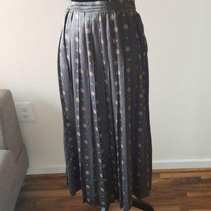 Pleated Midi Silk Skirt by The Villager Vint Sz S